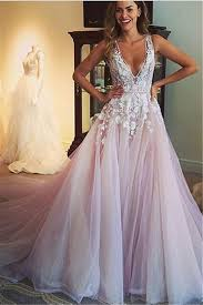 wedding reception dresses v neck pink wedding dresses 2018 sleeveless tulle wedding
