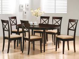 coaster mix and match cappuccino oval dining table 100770 table w cross back chairs magnifier