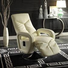 diem contemporary taupe bonded leather swivel reclining chair