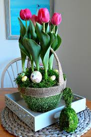 beautiful easter baskets turn a plain pot of tulips into a beautiful easter basket garden