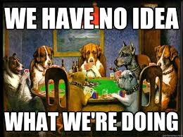 Poker Meme - we have no idea what we re doing dogs playing poker quickmeme