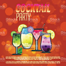 summer cocktails party banner invitation flyer card poster with