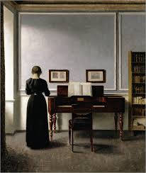 interior with piano and woman in black art and images in