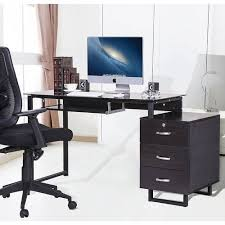 Merax Large Glass Computer Desk Office Desk With Keyboard Tray And