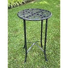 amazon com ocean mosaic black iron outdoor accent table home