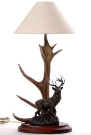 red stag antler table lamp designs by luca genuine red stag lamp w metal stag statue 10