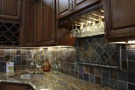 Stone Kitchen Backsplashes Kitchen Fascinating Kitchen Stone Backsplash Dark Cabinet Ideas