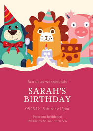 kids party invitation templates canva