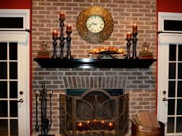 decor mantel decorating ideas fireplace design with brick wall