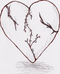 pencil sketch of broken hearts