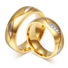 steel finger rings images Elegant titanium steel crystal gold plated couple finger ring jpg