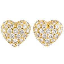 gold stud earings cartier diamond gold heart shaped earrings for sale at 1stdibs