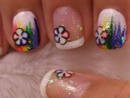 cute and simple nail art on short nails rainbow with fimo slices