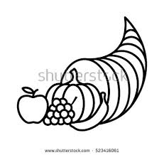 cornucopia horn plenty thanksgiving basket line stock vector
