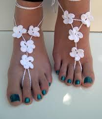barefoot sandals wedding flower barefoot sandals silver barefoot sandles crocheted anklet