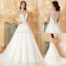 wedding dress sheer straps 2015 luxury a line wedding dress with straps sheer back