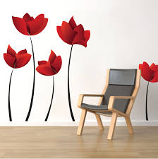 large flower wall decals red flower wall murals floral wall