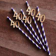 40th Bday Decorations 40th Birthday Decoration Straws 10ct Ships In 1 3 Business Days
