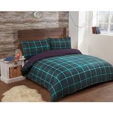 Green Double Duvet Cover Check Brushed Cotton Duvet Set Double Bedding B U0026m