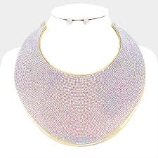 rhinestone collar necklace images Pave rhinestone wide metal armor collar necklace magical moments jpg