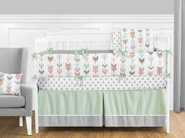 Design Crib Bedding Sweet Jojo Designs 9 Grey Coral And Mint