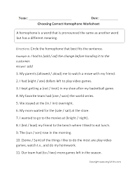 vocabulary worksheets homophone worksheets