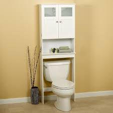white wooden bathroom cabinet and shelf over white toilet bowl on