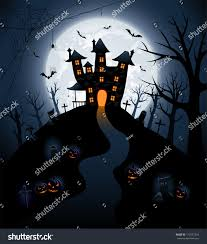 halloween castle background halloween night background castle pumpkins illustration stock