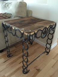 Horseshoe Bench Barn Board And Horseshoe Table Horse Shoe Decor Pinterest