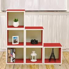 6 stackable storage cubes red and modular cube bookcase way basics