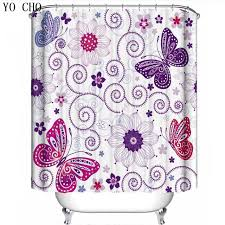 Purple Shower Curtain Sets - aliexpress com buy yo cho purple shower curtains bathroom