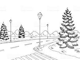winter street graphic black white landscape sketch illustration