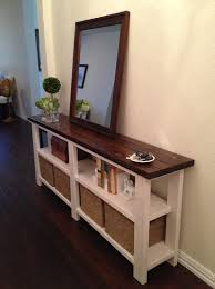 Narrow White Console Table Narrow White Console Table With Dark Brown Top Also Four Woven