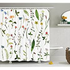 Bathroom Flowers And Plants Amazon Com Floral Shower Curtain By Ambesonne Vintage Garden