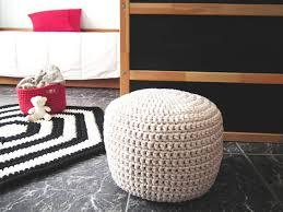 Crochet Ottoman White Wh Crochet Pouf Ottoman Nursery Foot Stool Pouf