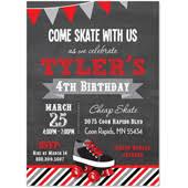 kids birthday party invitations rollerblade skate bycicle bike