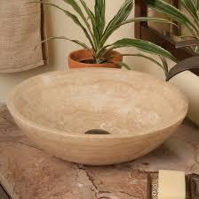 Bathroom Natural Novatto Natural Travertine Circular Vessel Bathroom Sink U0026 Reviews
