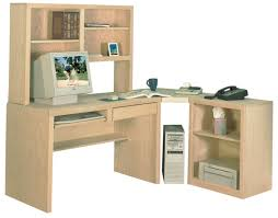l shaped cream maple wood corner desk with hutch and printer shelf