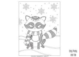 raccoon winter coloring adults kids easy peasy fun