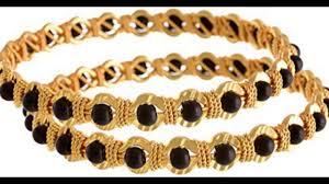 black gold bangle bracelet images Latest black beads gold bangle design collection jpg