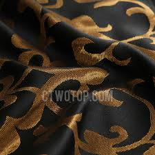 Camo Blackout Curtains Black Polyester Fabric Blackout Curtain Jacquard With Gold Cool