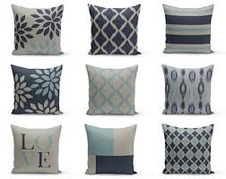 blue and gray sofa pillows navy blue cushions etsy