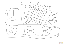 dumptruck with rocks coloring page free printable coloring pages
