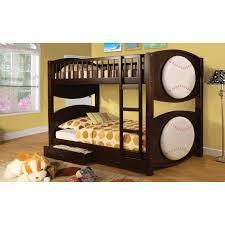 Furniture Of America Baseball Twin Over Twin Bunk Bed With Storage - Furniture of america bunk beds