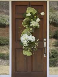 hydrangea silk floral door swag green decor inspiration