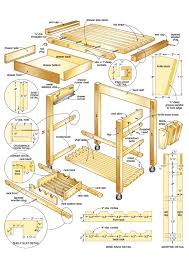 custom diy portable butcher block table plan on wheels with drawer