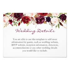 burgundy wedding invitations burgundy marsala floral wedding details info card zazzle