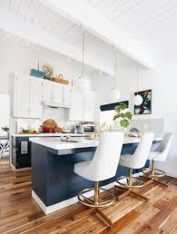 the final big kitchen makeover post emily henderson kitchen after emily henderson blue white brass stools overall