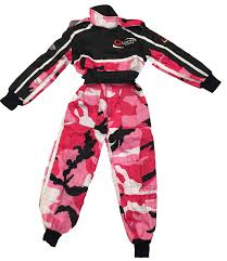 pink motocross bike childrens kids camo race suit overalls karting motocross racing