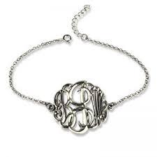 silver monogram bracelet personalized monogram bracelets